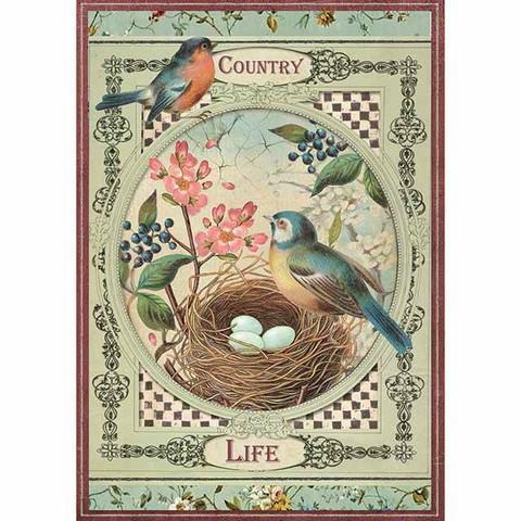 Decoupage-arkki - Country Life Birds - A4