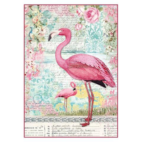 Decoupage-arkki - Pink Flamingo - A4
