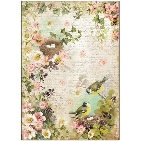 Decoupage-arkki - Birds With Nest - A4