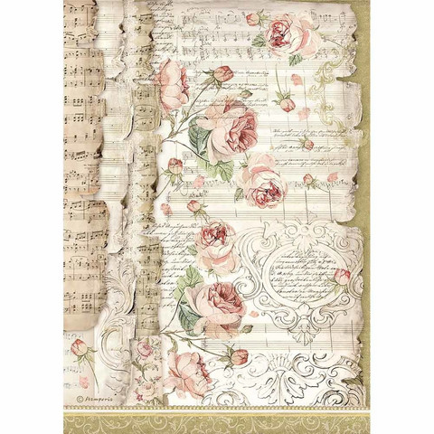 Decoupage-arkki - Roses and Music