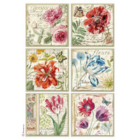 Decoupage-arkki - Botanic Flower Cards