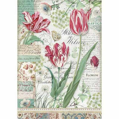 Decoupage-arkki - Red Tulip - A4