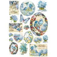 Decoupage-arkki - Blue Birds & Butterflies - A4