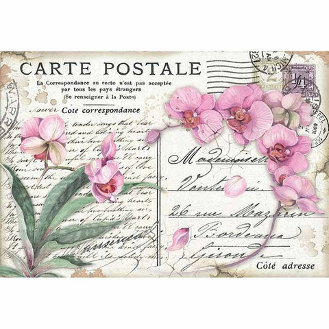 Decoupage-arkki - Pink Orchid - A3