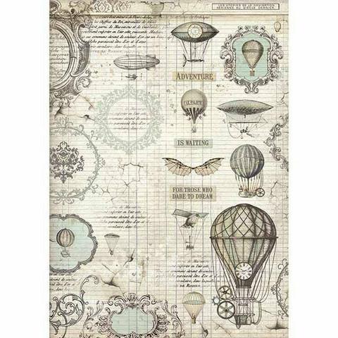 Decoupage-arkki - Voyages Fantastiques Balloon - A4