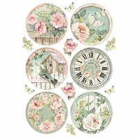 Decoupage-arkki - Round Clocks - A4