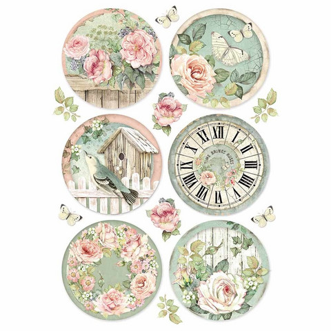 Decoupage-arkki - Round Clocks - A4