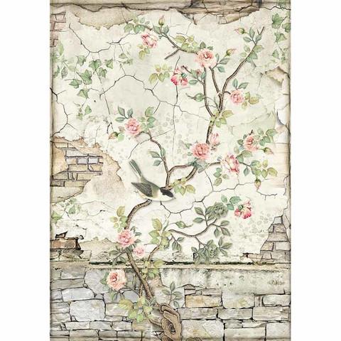Decoupage-arkki - Little Bird on Branch - A4