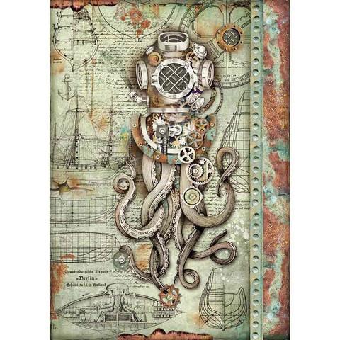 Decoupage-arkki - Octopus - A4