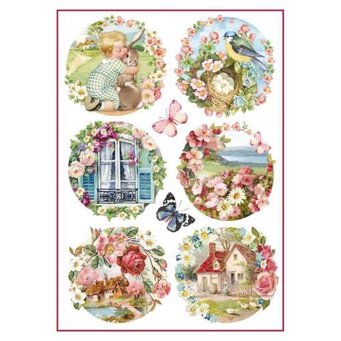 Decoupage-arkki - Floral Landscapes - A4