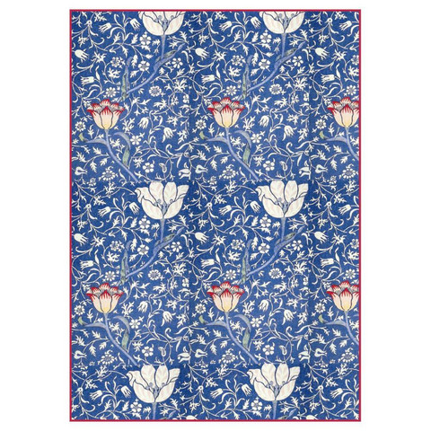 Decoupage-arkki - Blue Arabesque with Flowers - A4