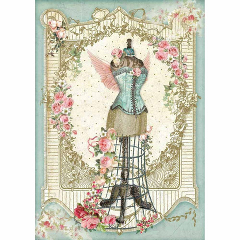 Decoupage-arkki - Mannequin with Flowers - A4