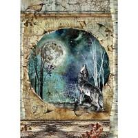 Decoupage-arkki - Cosmos Wolf & Moon - A4