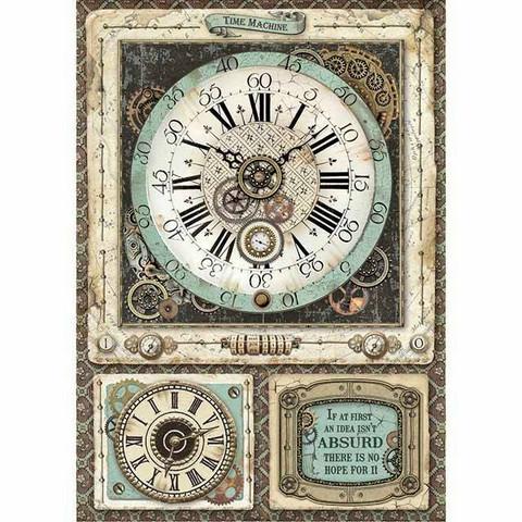 Decoupage-arkki - Voyages Fantastiques Clock  - A4