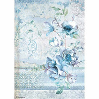 Decoupage-arkki - Blue Land Flower - A4