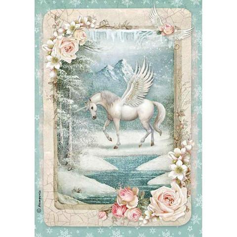 Decoupage-arkki - Unicorn - A4