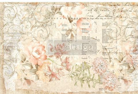 Decoupage-arkki - 48x76 cm - Paper Floral Parchment - Prima Redesign Decor Tissue Paper
