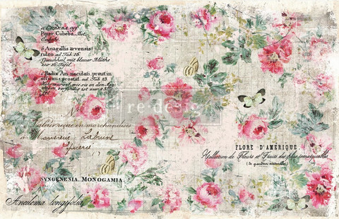 Decoupage-arkki - 48x76 cm - Paper Floral Wallpaper - Prima Redesign Decor Tissue Paper