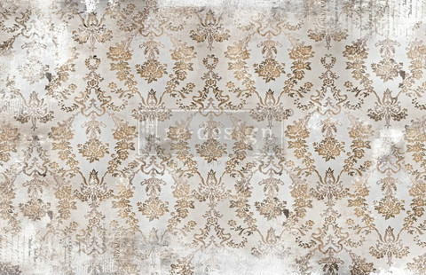 Decoupage-arkki - Washed Damask - Prima Redesign Decor Decoupage Paper