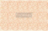 Decoupage-arkki - Peach Damask - Prima Redesign Decor Decoupage Paper