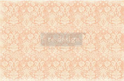 Decoupage-arkki - 48x76 cm - Peach Damask - Prima Redesign Decor Decoupage Paper