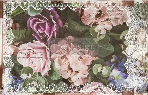Decoupage-arkki - 48x76 cm - Dark Lace Floral - Prima Redesign Decor Decoupage Paper