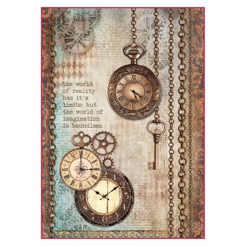 Decoupage-arkki - Clockwise Clock & Keys - A4
