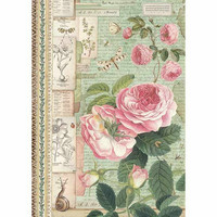 Decoupage-arkki - Botanic English Roses with Snail - A4