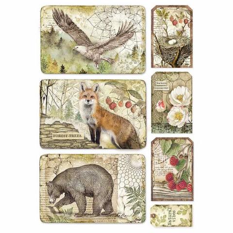 Decoupage-arkki - Framed Eagle, Bear, Fox - A4