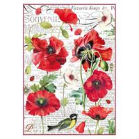 Decoupage-arkki - Botanic Poppy - A4