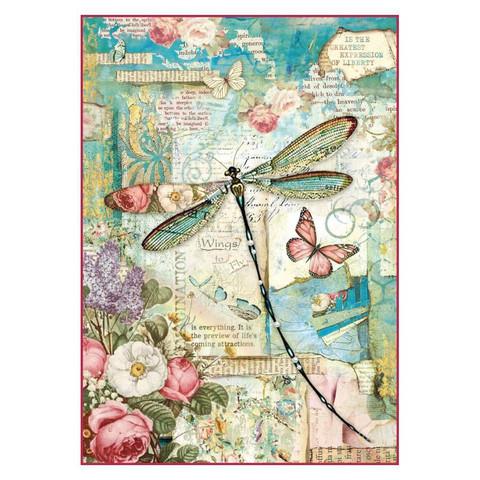 Decoupage-arkki - Wonderland Dragonfly - A4