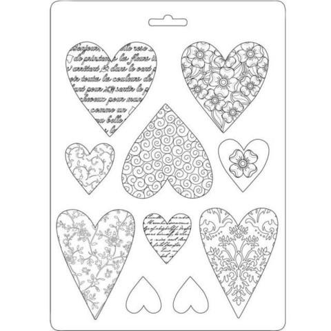 Tekstuurimuotti - 21 x 15 cm - Hearts