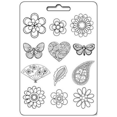 Muotti - A4 - Flowers, Hearts & Butterflies