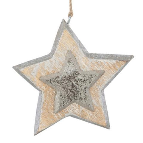 Puinen tähtikoriste - 12 x 12 cm