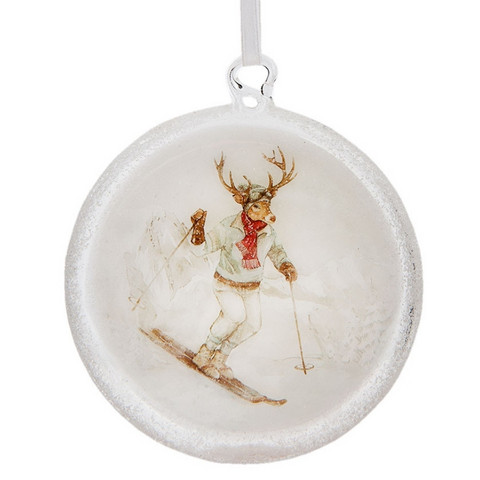 Litteä lasipallo 10 cm - Hiihtävä peura 2