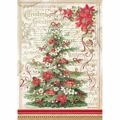 Decoupage-arkki - Christmas Greetings Tree - A4