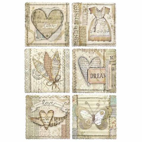 Decoupage-arkki - Heart Frames - A4