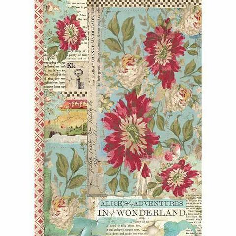 Decoupage-arkki - Alice Red Flower - A4