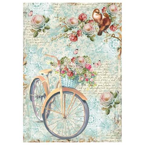 Decoupage-arkki - Bike & Branch with Flowers - A4