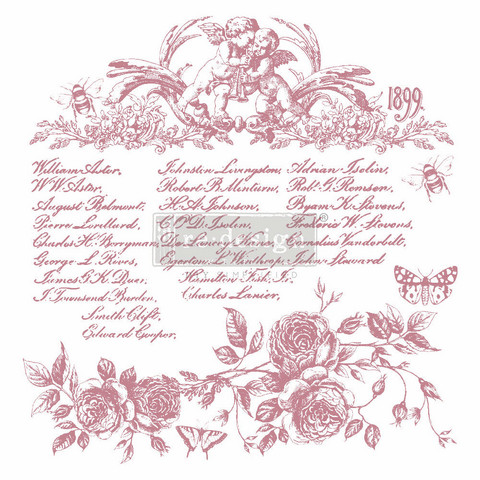 Leimasin - 30 x 30 cm - Prima Re-design Decor Stamp - Floral Script