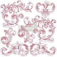 Leimasin - 30 x 30 cm - Prima Re-design Decor Stamp - Elegant Scrolls