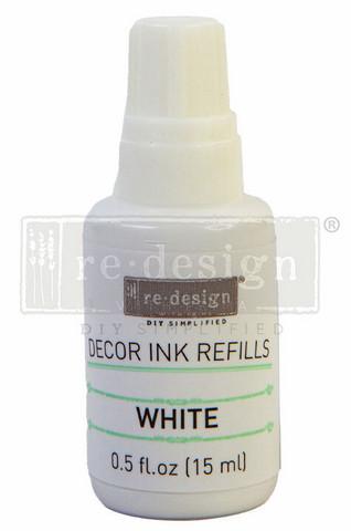 Leimasinmuste täyttöpullo 15 ml - Valkoinen - Redesign Decor Ink Refill