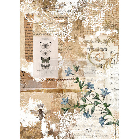 Decoupage-arkki - 29x41 cm - Botanical Sonata - Redesign Decor Rice Paper