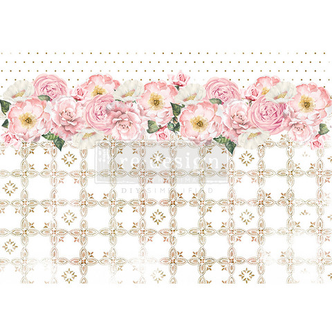 Decoupage-arkki - 29x41 cm - Tranquil Bloom - Redesign Decor Rice Paper