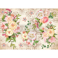 Decoupage-arkki - 29x41 cm - Amiable Roses - Redesign Decor Rice Paper
