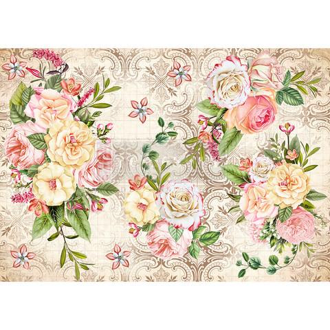 Decoupage-arkki - 29x41 cm - Amiable Roses - Redesign Decor Rice Paper