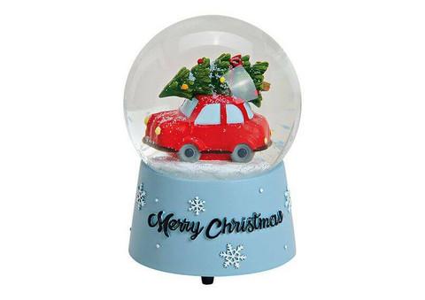 Kuusi auton katolla - Lumisadepallo - 10x14x10 cm