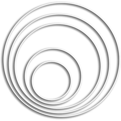 20 cm - Metallirengas - Valkoinen