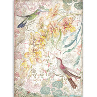 Decoupage-arkki - A4 - Yellow Orchids and Birds