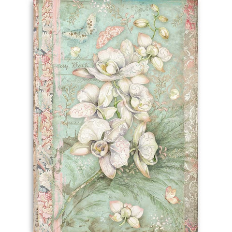 Decoupage-arkki - A4 - White Orchid